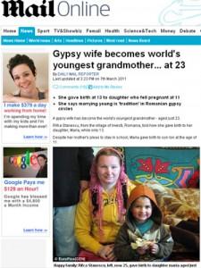 cigana avo nova  225x300 Bizarro: mulher romena se torna avó aos 23 anos!