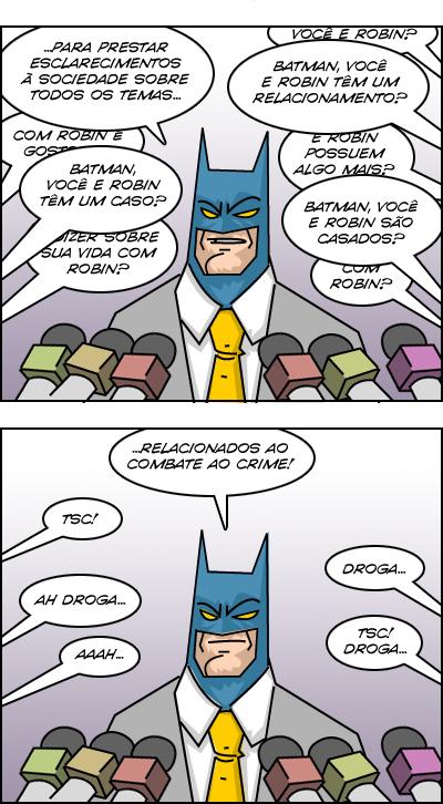 Humor: Batman resolve dar uma entrevista coletiva…