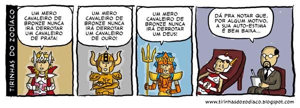 tirinhas cavaleiros do zodiaco1 Humor: tirinhas dos Cavaleiros do Zodíaco !