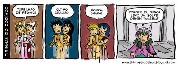 tirinhas cavaleiros do zodiaco3 Humor: tirinhas dos Cavaleiros do Zodíaco !