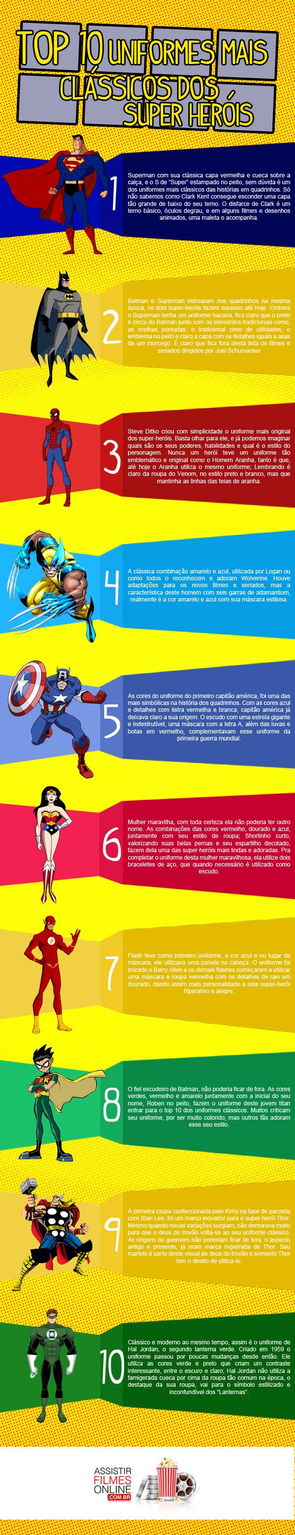 uniformes dos herois Conheça aqui os 10 top uniformes dos super heróis!