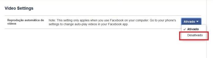 Como desligar video automático no Facebook
