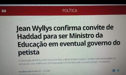fake 500x296 Jean Wyllys será ministro da educação no Governo Haddad? Saiba a verdade!